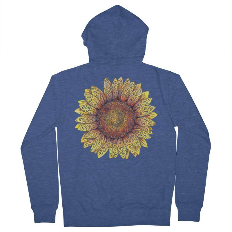Swirly Sunflower Men's French Terry Zip-Up Hoody by VectorInk's Artist Shop