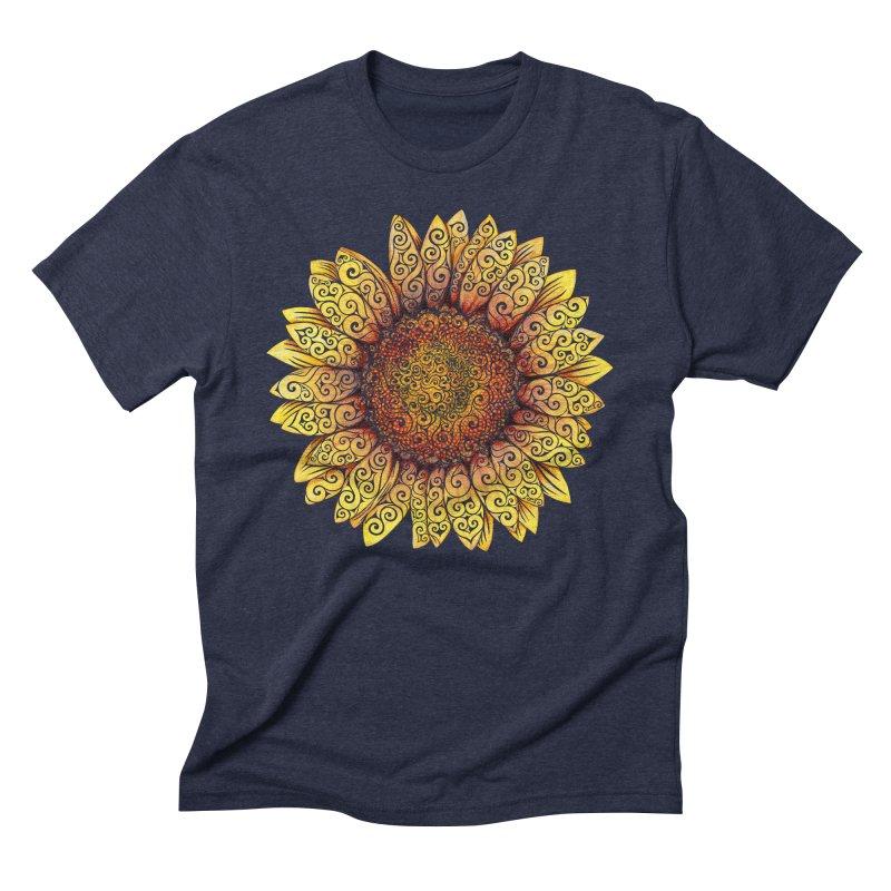Swirly Sunflower Men's Triblend T-shirt by VectorInk's Artist Shop