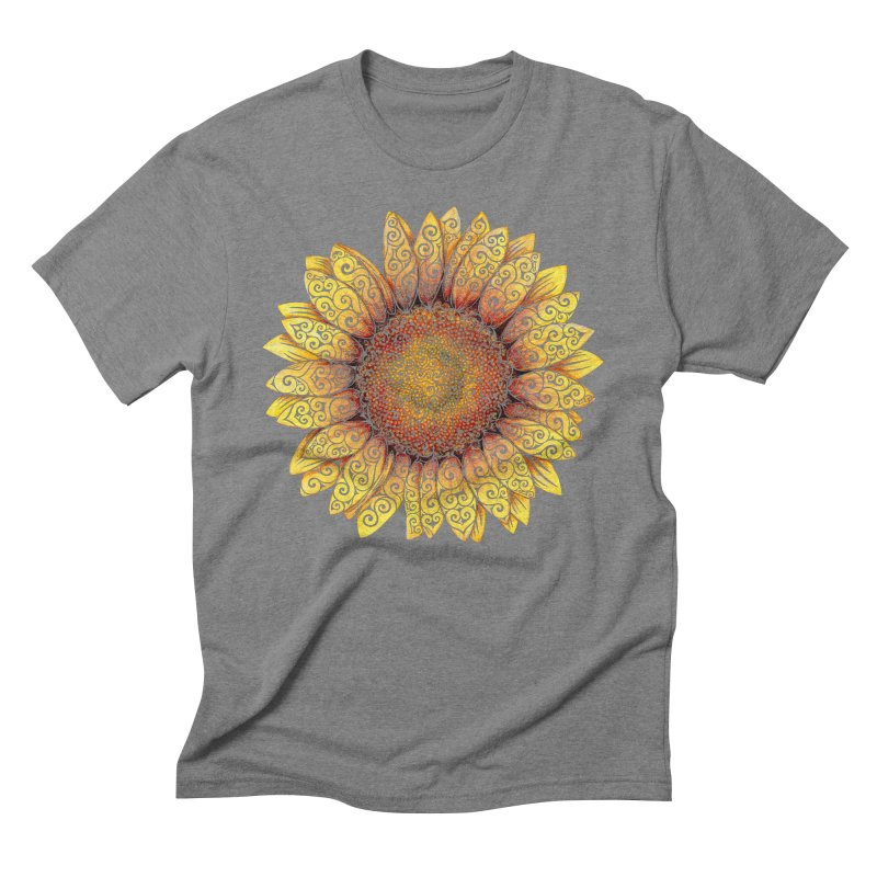 Swirly Sunflower Men's Triblend T-Shirt by VectorInk's Artist Shop