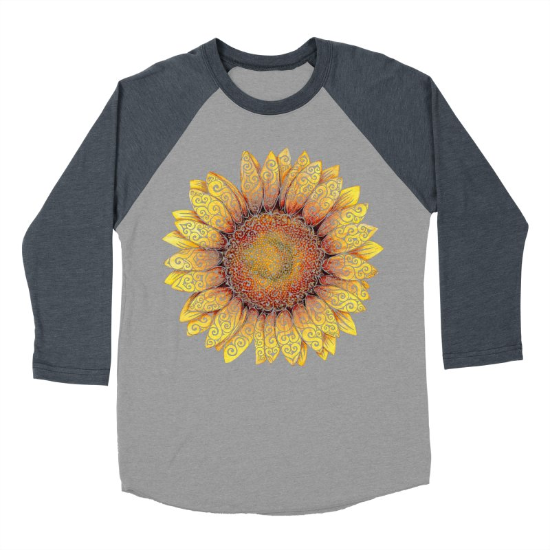 Swirly Sunflower Women's Baseball Triblend Longsleeve T-Shirt by VectorInk's Artist Shop