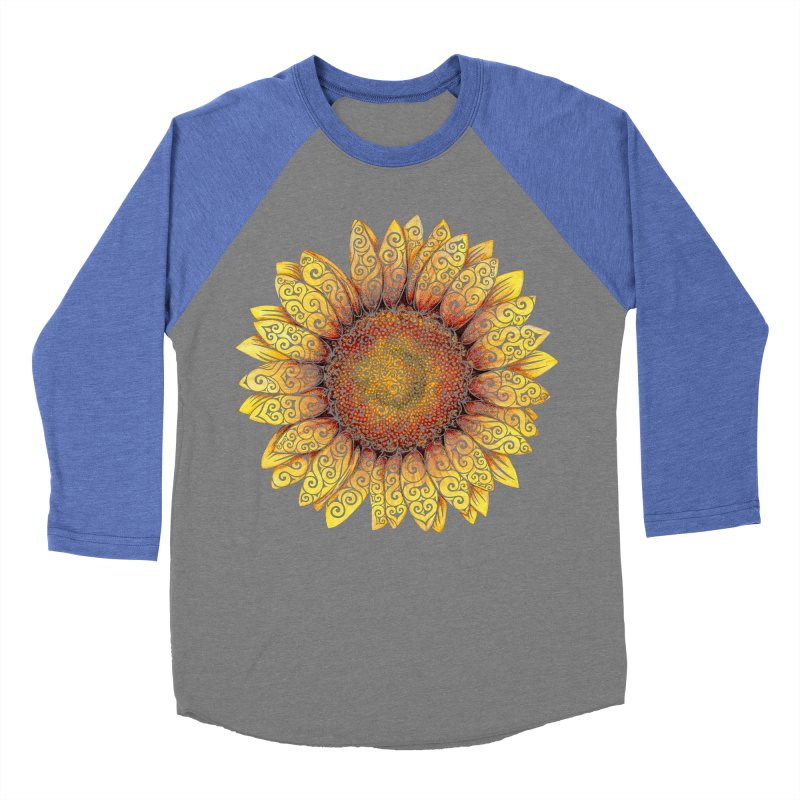 Swirly Sunflower Men's Baseball Triblend T-Shirt by VectorInk's Artist Shop