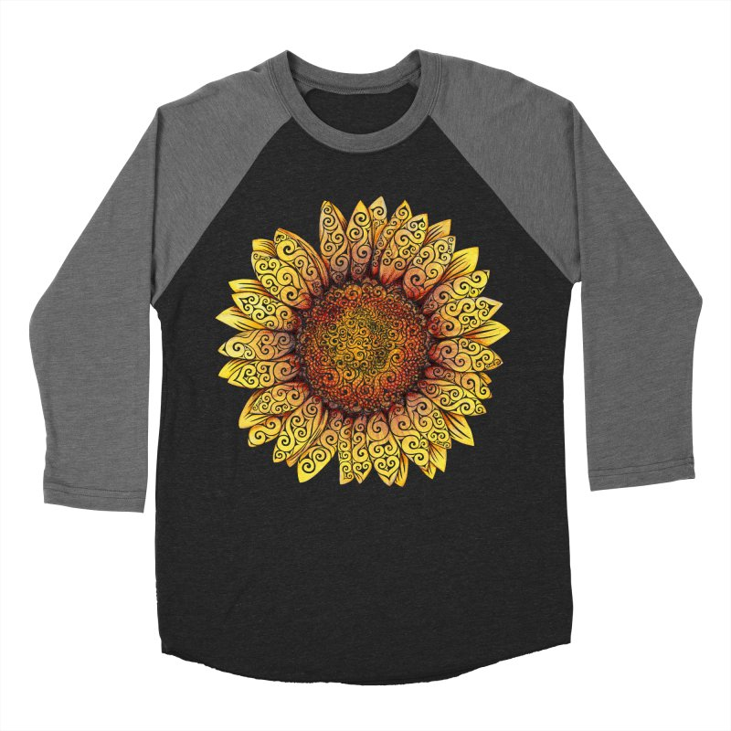 Swirly Sunflower Men's Baseball Triblend Longsleeve T-Shirt by VectorInk's Artist Shop