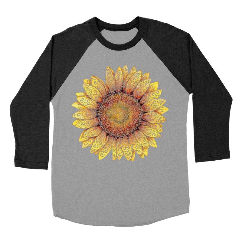 Swirly Sunflower Men's Baseball Triblend Longsleeve T-Shirt by VectorInk's Artist Shop