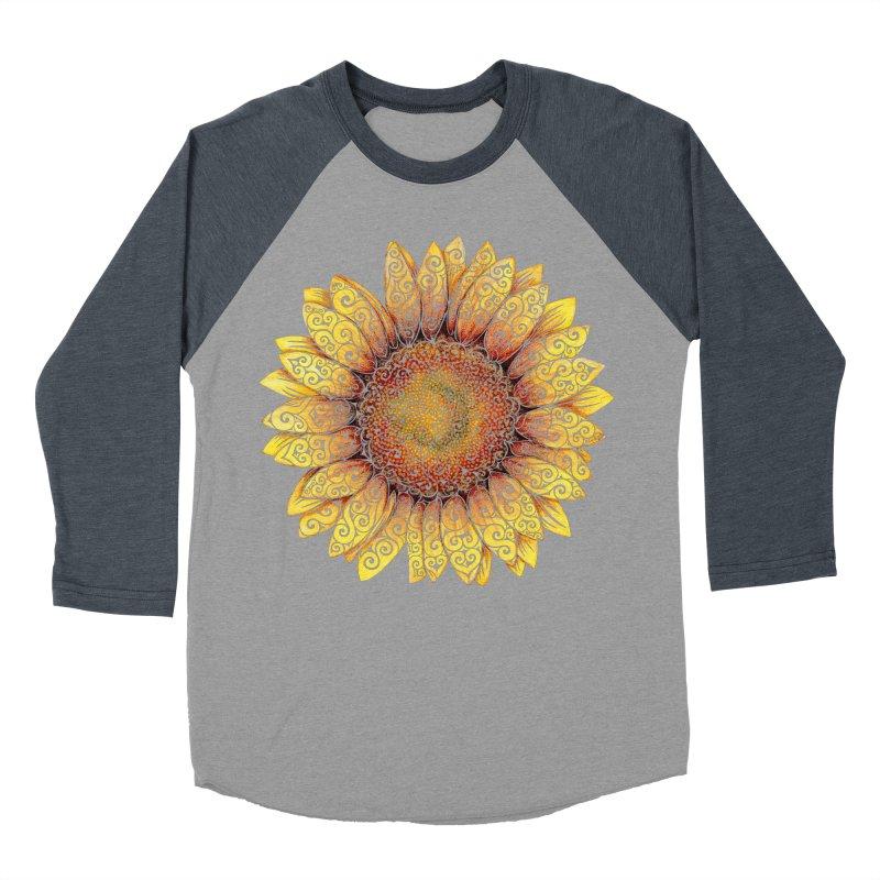 Swirly Sunflower Men's Baseball Triblend T-Shirt by VectorInk's Artist Shop