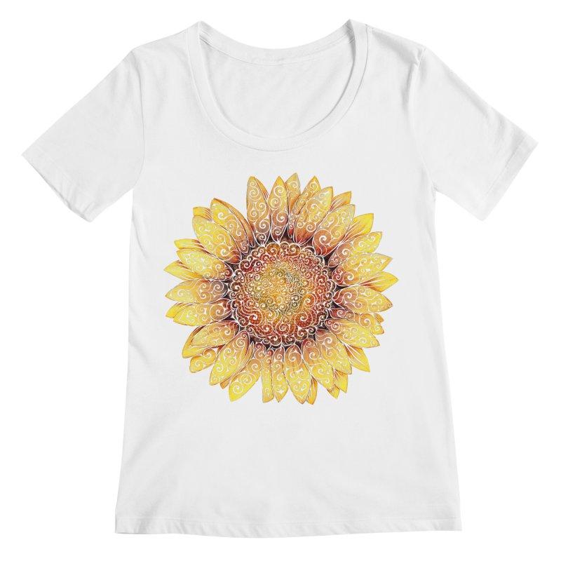Swirly Sunflower Women's Regular Scoop Neck by VectorInk's Artist Shop