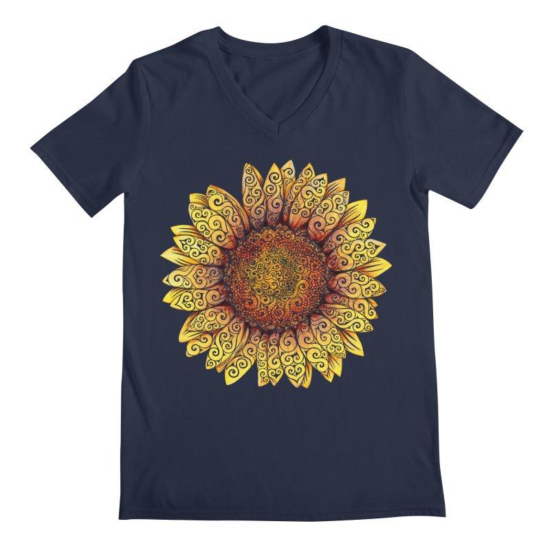Swirly Sunflower Men's Regular V-Neck by VectorInk's Artist Shop