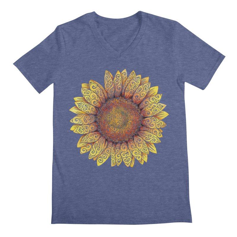 Swirly Sunflower Men's V-Neck by VectorInk's Artist Shop