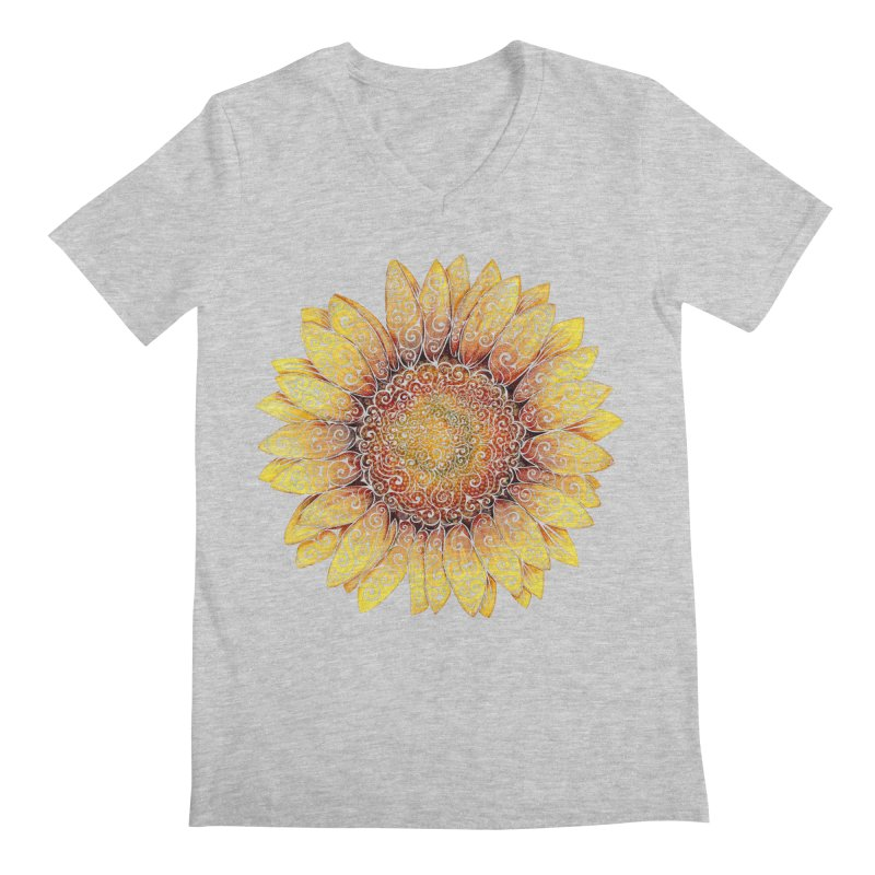 Swirly Sunflower Men's V-Neck by VectorInk's Artist Shop