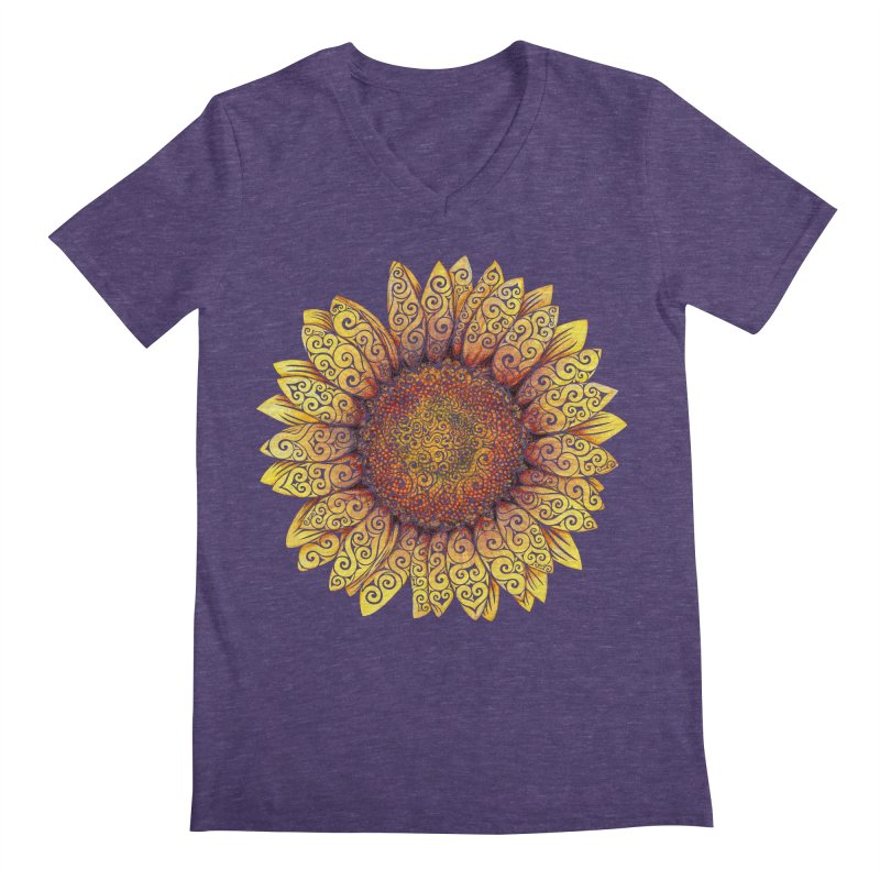 Swirly Sunflower Men's Regular V-Neck by VectorInk's Artist Shop