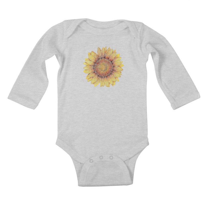 Swirly Sunflower Kids Baby Longsleeve Bodysuit by VectorInk's Artist Shop