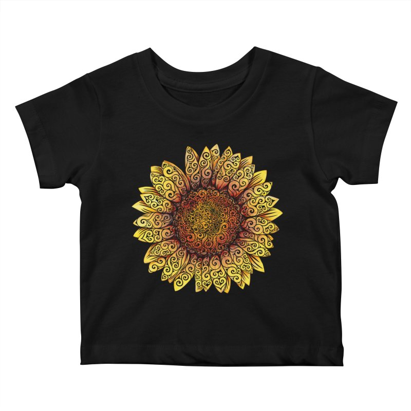 Swirly Sunflower Kids Baby T-Shirt by VectorInk's Artist Shop