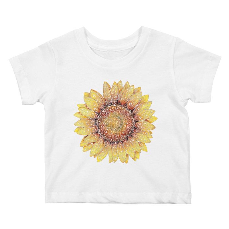 Swirly Sunflower Kids Baby T-Shirt by VectorInk's Artist Shop