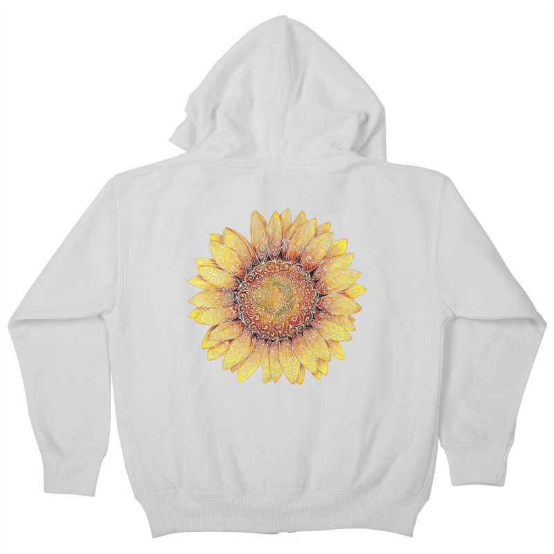 Swirly Sunflower Kids Zip-Up Hoody by VectorInk's Artist Shop