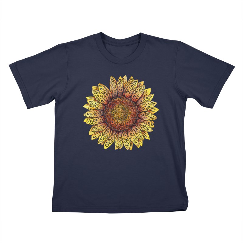 Swirly Sunflower Kids T-Shirt by VectorInk's Artist Shop