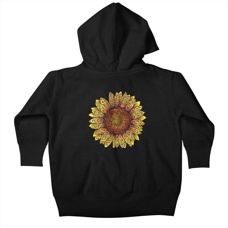 Swirly Sunflower Kids Baby Zip-Up Hoody by VectorInk's Artist Shop