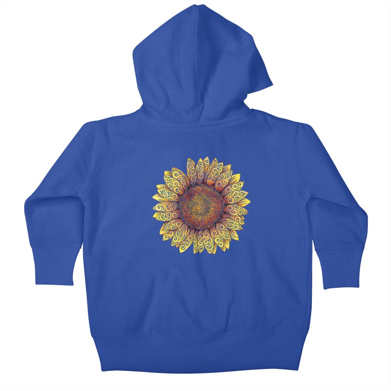 Swirly Sunflower Kids Baby Zip-Up Hoody by VectorInk's Artist Shop