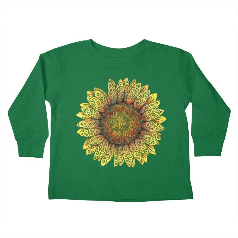 Swirly Sunflower Kids Toddler Longsleeve T-Shirt by VectorInk's Artist Shop