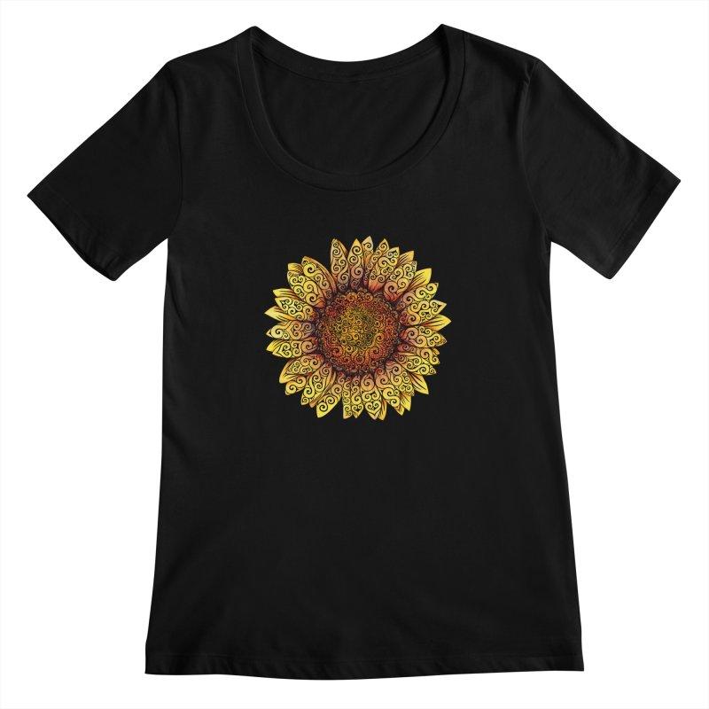 Swirly Sunflower Women's Scoopneck by VectorInk's Artist Shop