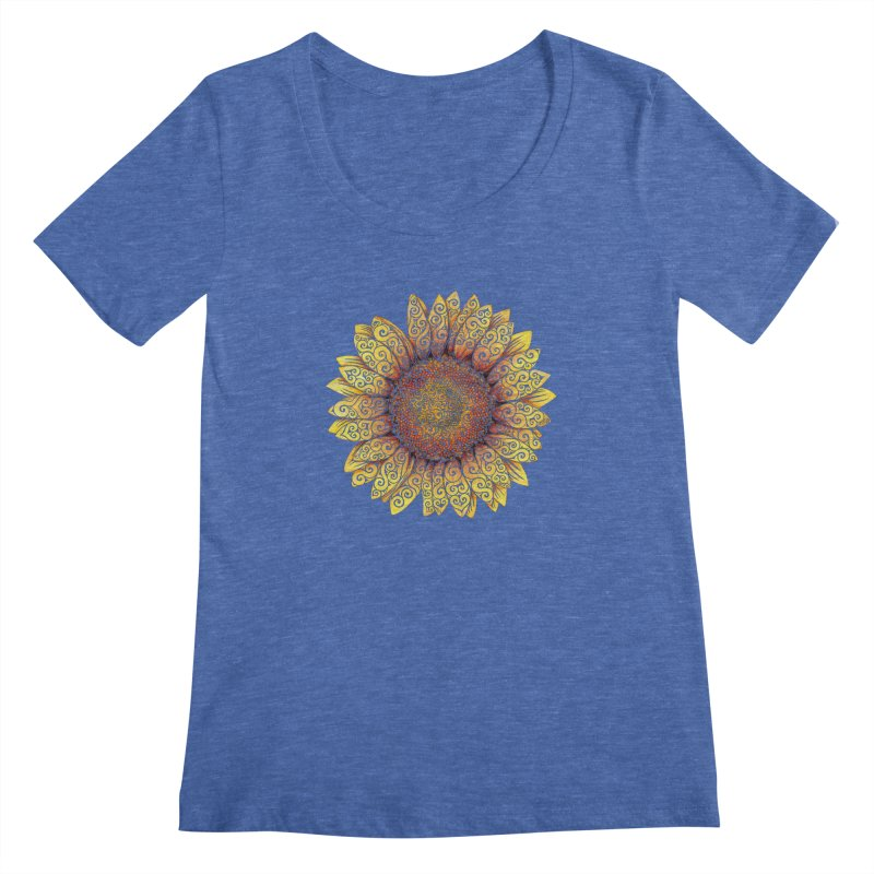 Swirly Sunflower Women's Regular Scoop Neck by VectorInk's Artist Shop