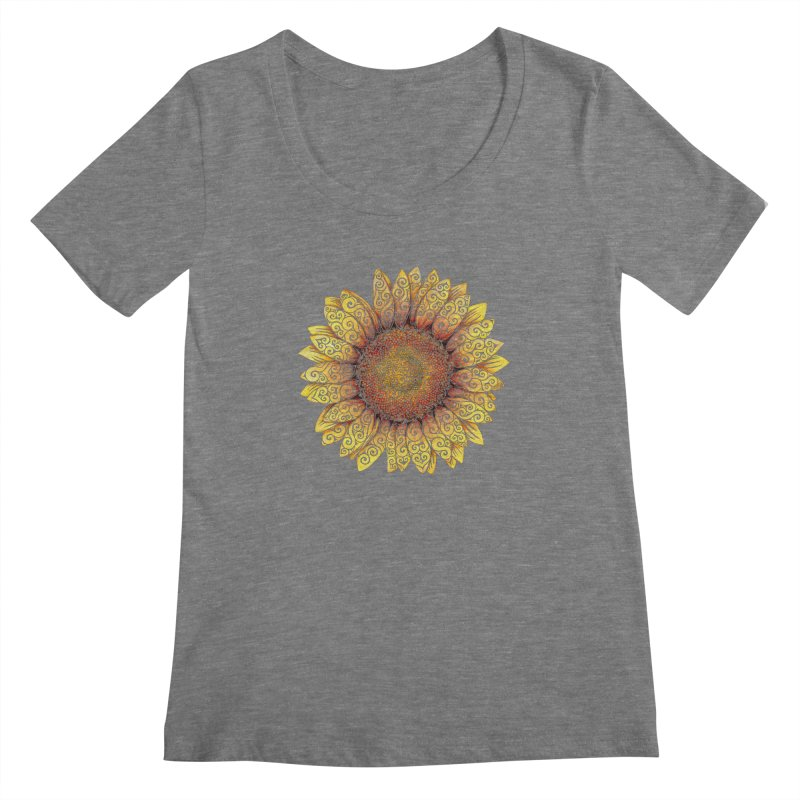 Swirly Sunflower Women's Scoopneck by VectorInk's Artist Shop
