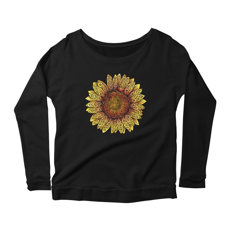Swirly Sunflower Women's Scoop Neck Longsleeve T-Shirt by VectorInk's Artist Shop