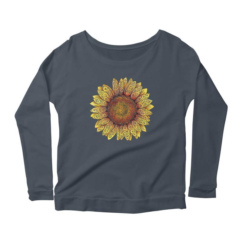 Swirly Sunflower Women's Longsleeve Scoopneck  by VectorInk's Artist Shop