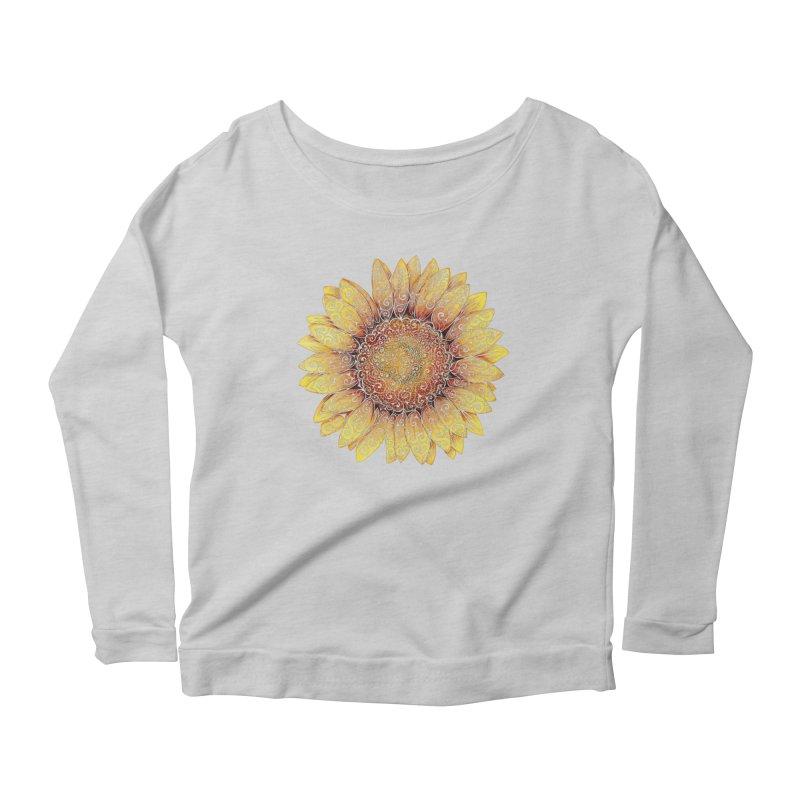 Swirly Sunflower Women's Longsleeve Scoopneck  by VectorInk's Artist Shop
