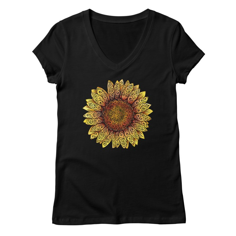 Swirly Sunflower Women's V-Neck by VectorInk's Artist Shop