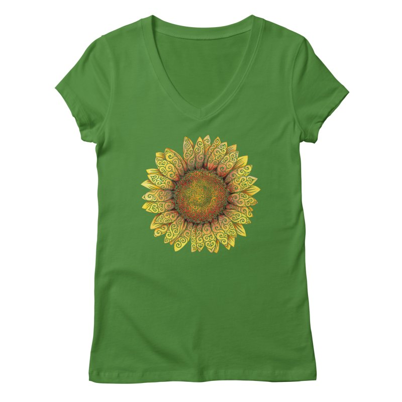 Swirly Sunflower Women's V-Neck by VectorInk's Artist Shop