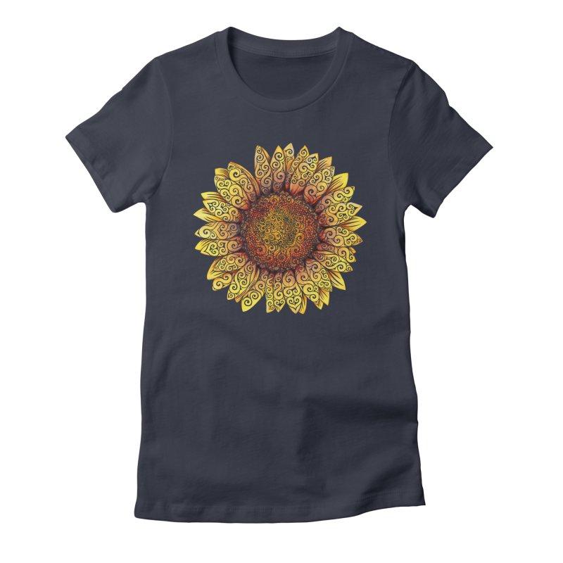 Swirly Sunflower Women's Fitted T-Shirt by VectorInk's Artist Shop