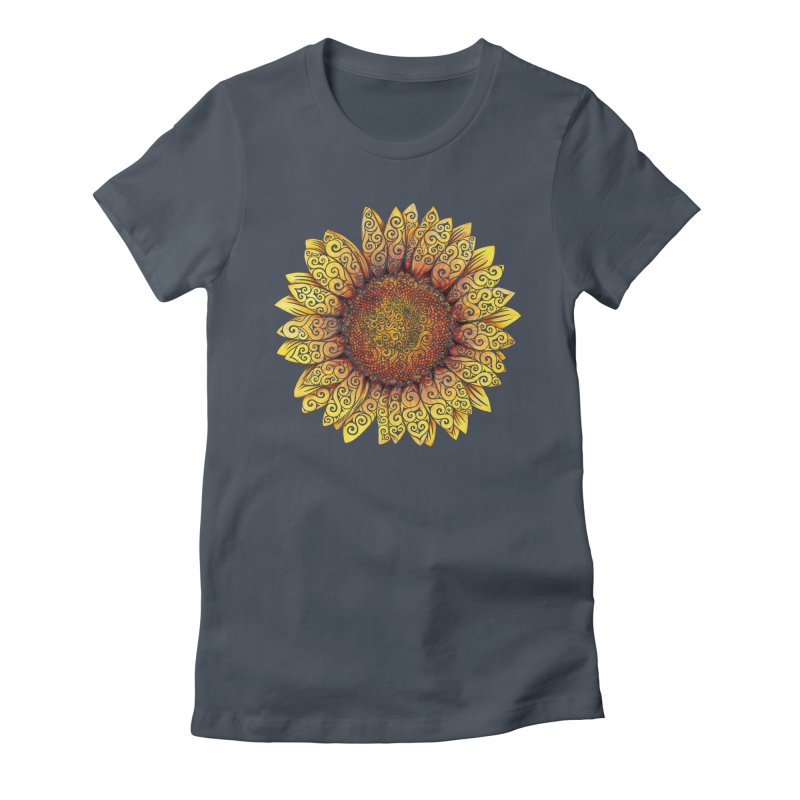 Swirly Sunflower Women's Fitted T-Shirt by VectorInk's Artist Shop