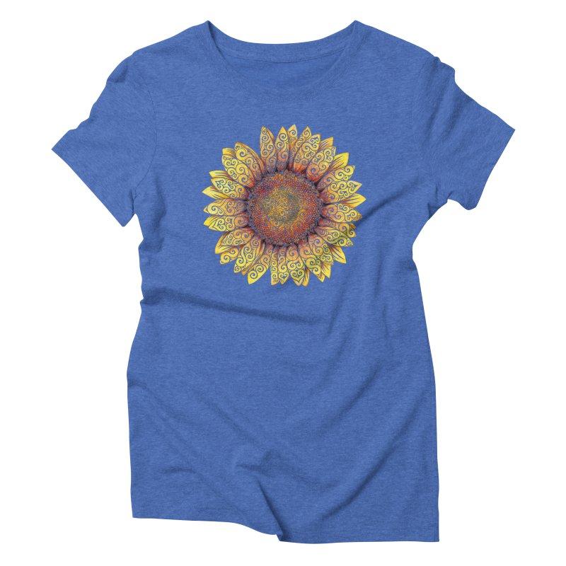 Swirly Sunflower Women's Triblend T-Shirt by VectorInk's Artist Shop