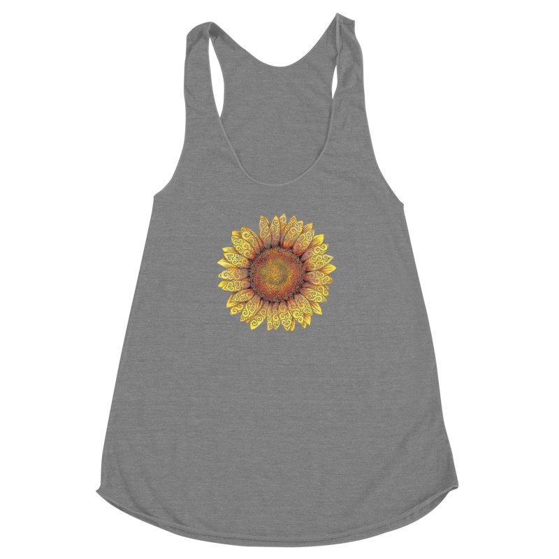 Swirly Sunflower Women's Racerback Triblend Tank by VectorInk's Artist Shop
