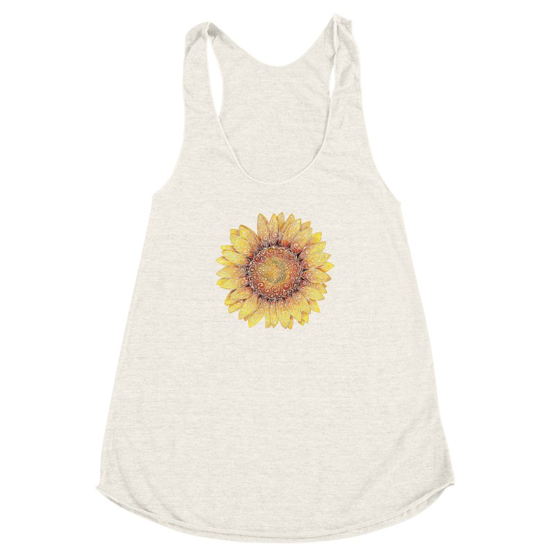 Swirly Sunflower Women's Racerback Triblend Tank by VectorInk's Artist Shop