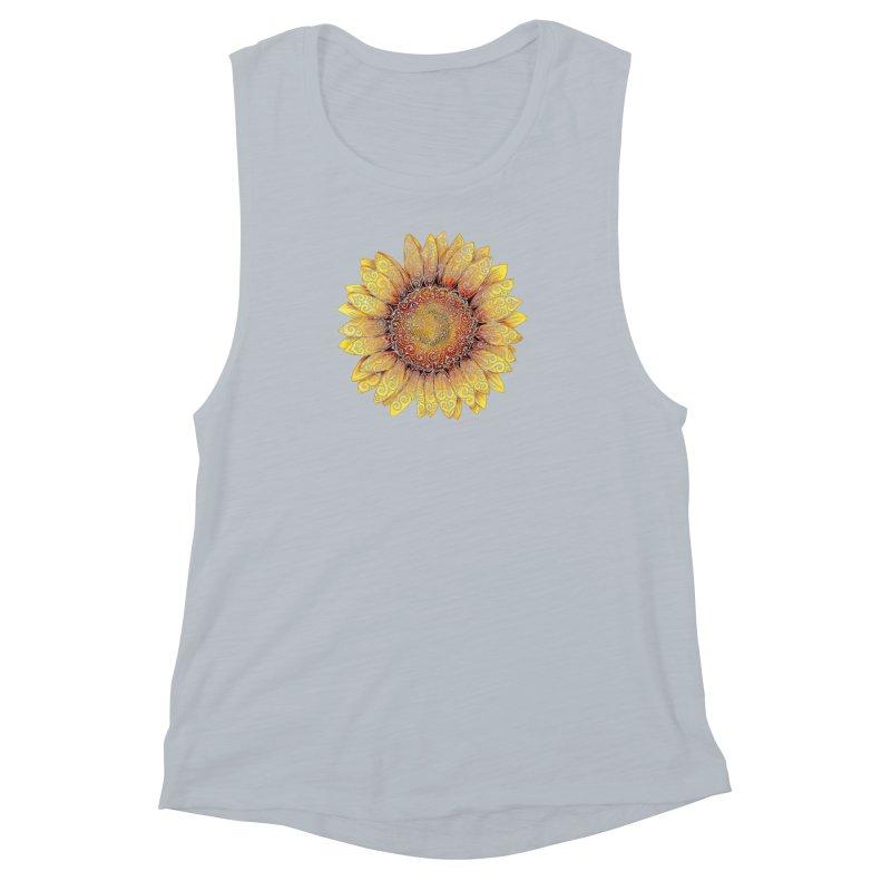 Swirly Sunflower Women's Muscle Tank by VectorInk's Artist Shop