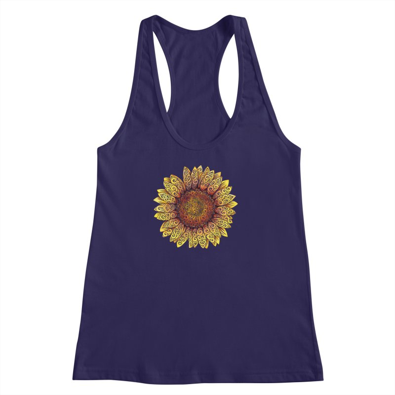Swirly Sunflower Women's Racerback Tank by VectorInk's Artist Shop