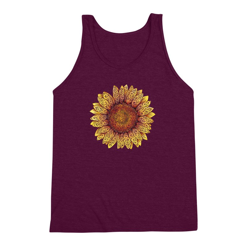 Swirly Sunflower Men's Triblend Tank by VectorInk's Artist Shop