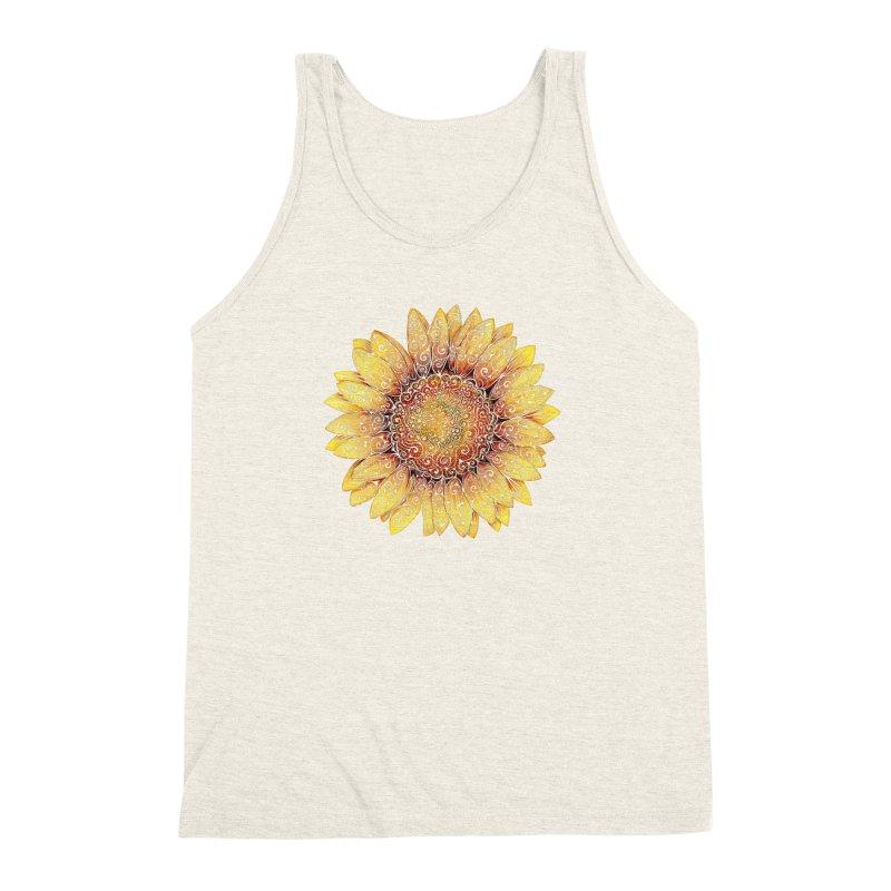 Swirly Sunflower Men's Triblend Tank by VectorInk's Artist Shop