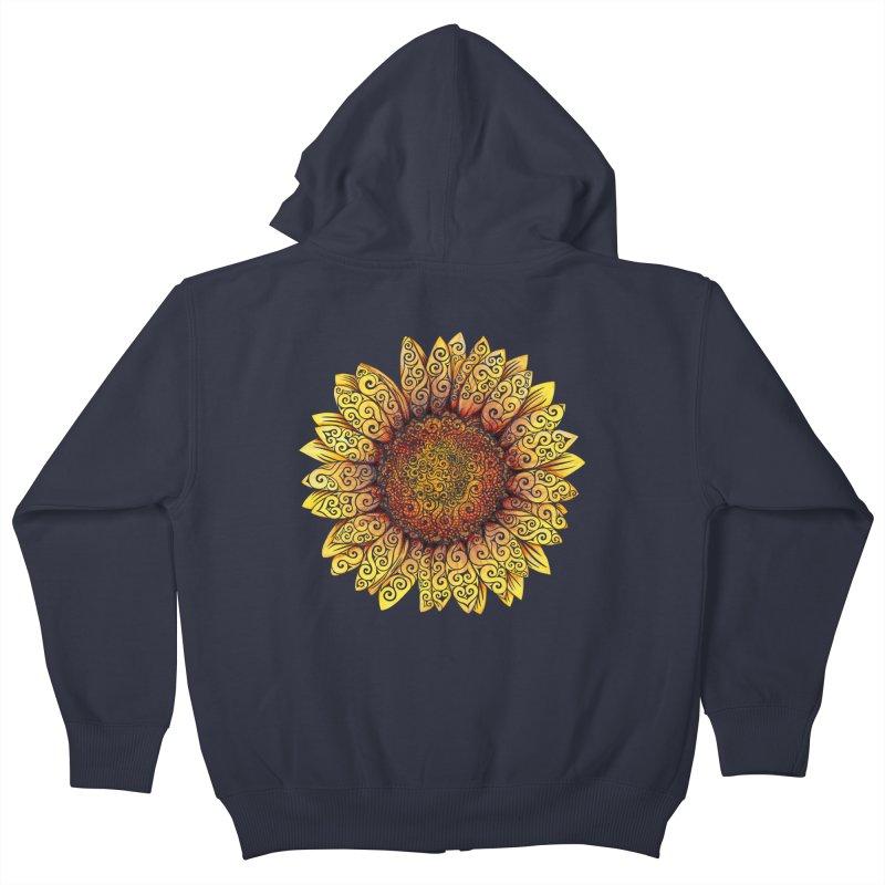 Swirly Sunflower Kids Zip-Up Hoody by VectorInk's Artist Shop