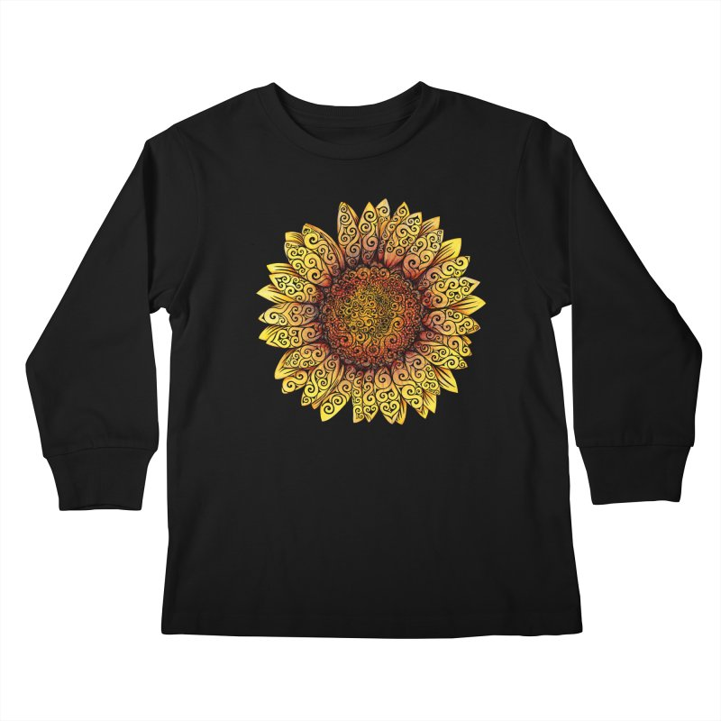 Swirly Sunflower Kids Longsleeve T-Shirt by VectorInk's Artist Shop