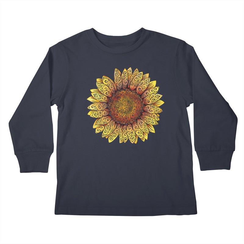 Swirly Sunflower Kids Longsleeve T-Shirt by VectorInk's Artist Shop