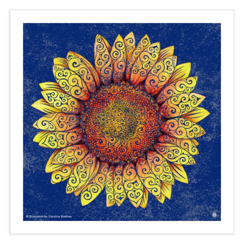 Swirly Sunflower in Fine Art Print by VectorInk's Artist Shop