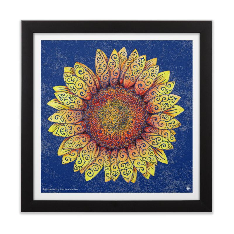 Swirly Sunflower Home Framed Fine Art Print by VectorInk's Artist Shop