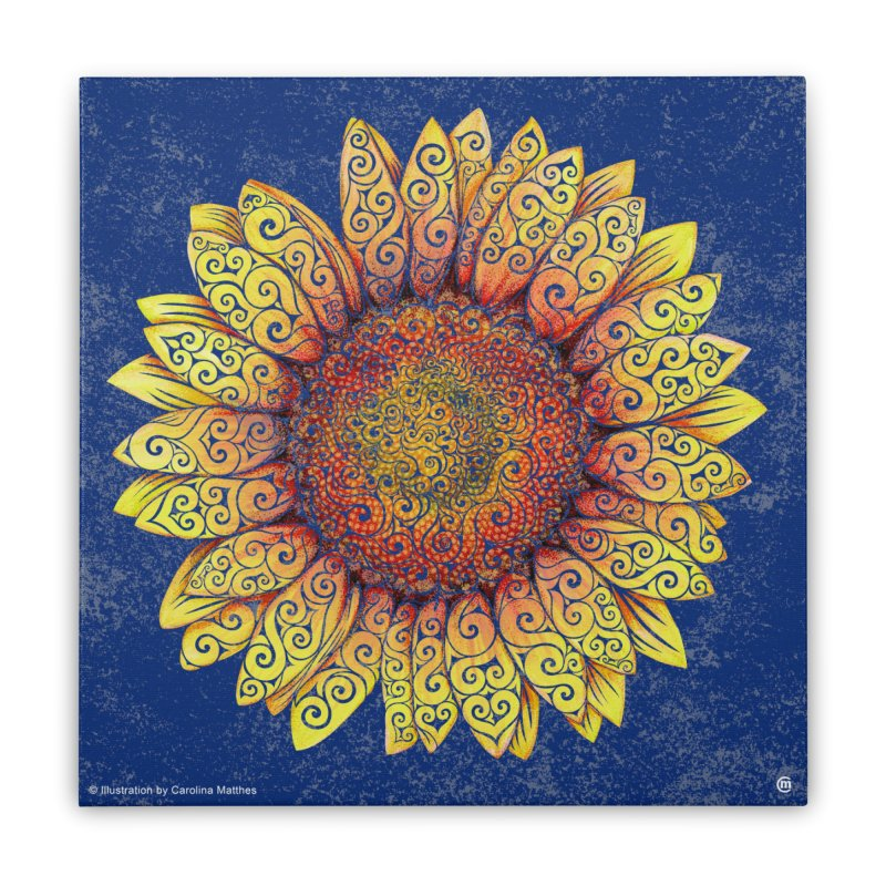 Swirly Sunflower Home Stretched Canvas by VectorInk's Artist Shop