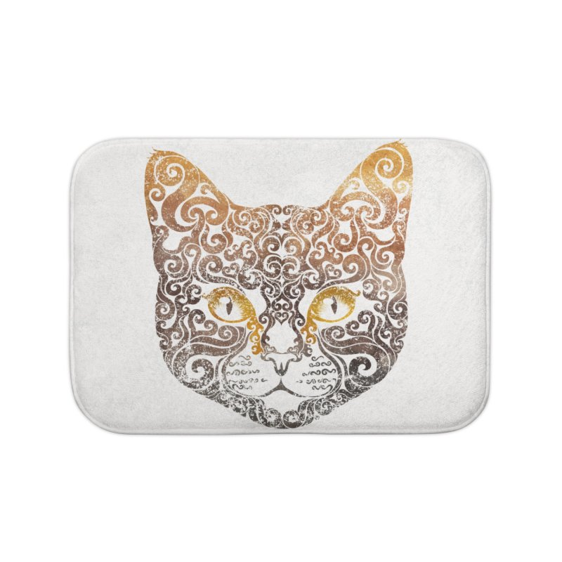 Swirly Cat Portrait 2 Home Bath Mat by VectorInk's Artist Shop