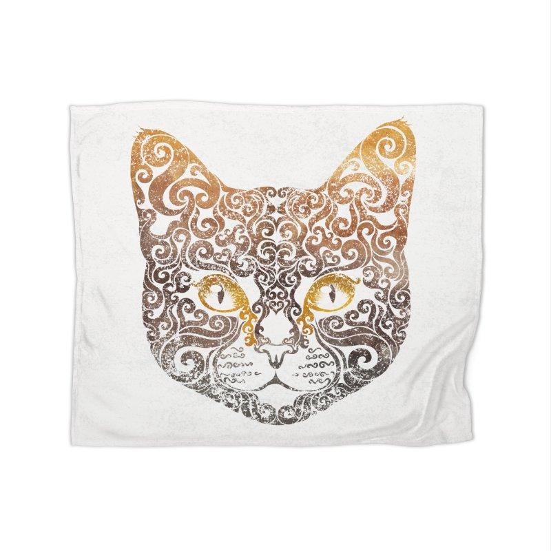 Swirly Cat Portrait 2 Home Blanket by VectorInk's Artist Shop