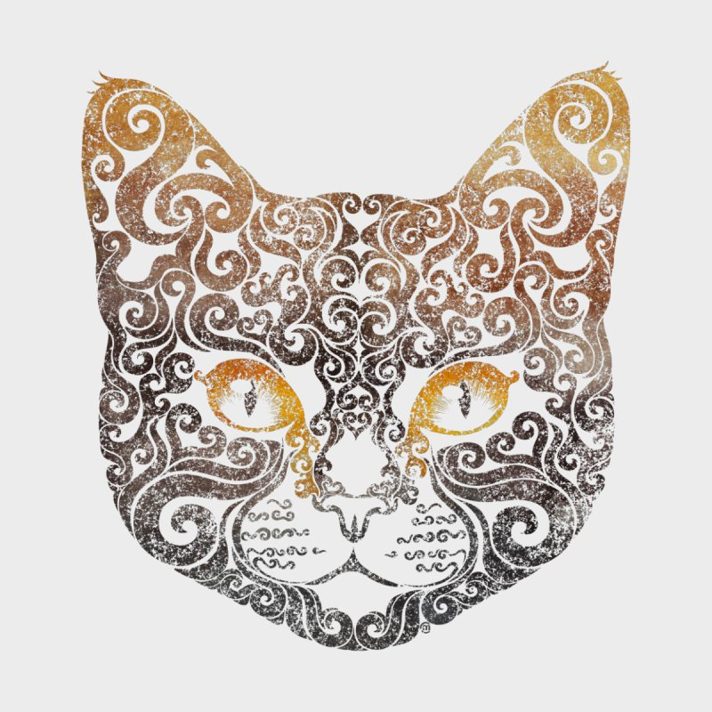 Swirly Cat Portrait 2 Home Duvet by VectorInk's Artist Shop