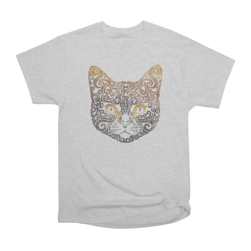 Swirly Cat Portrait 2 Women's Heavyweight Unisex T-Shirt by VectorInk's Artist Shop