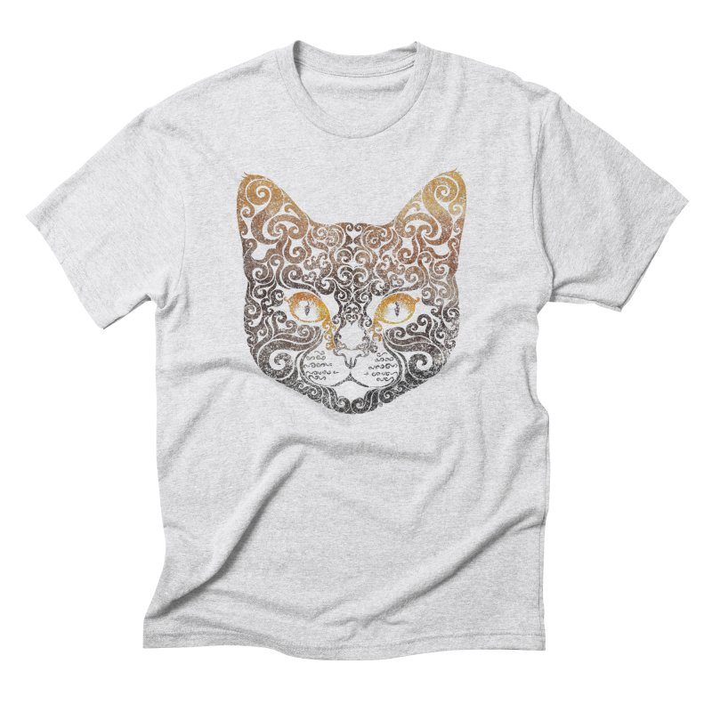 Swirly Cat Portrait 2 Men's Triblend T-Shirt by VectorInk's Artist Shop