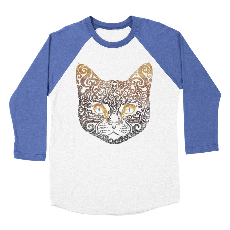 Swirly Cat Portrait 2 Women's Baseball Triblend Longsleeve T-Shirt by VectorInk's Artist Shop